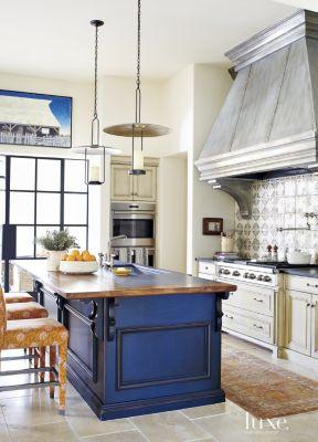 Mediterranean Cream Kitchen With Blue Island Luxe Interiors Design
