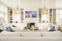 Contemporary Cream Living Room with Beadboard Ceiling ...