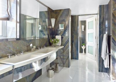 Transitional Neutral Bathroom with Brazilian Marble Walls
