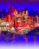 A strange city on stilts or telephone poles illuminated by a brilliant magenta sunset