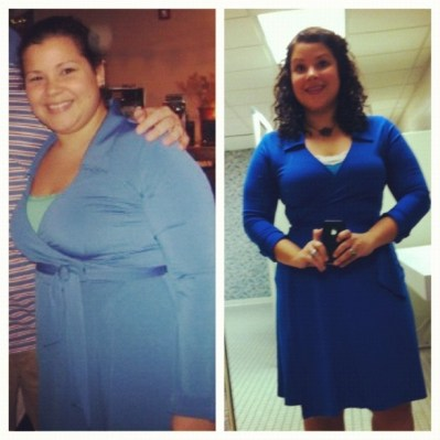 Thrown in for good measure: my before and after weightloss pic (wearing the same dress btw)