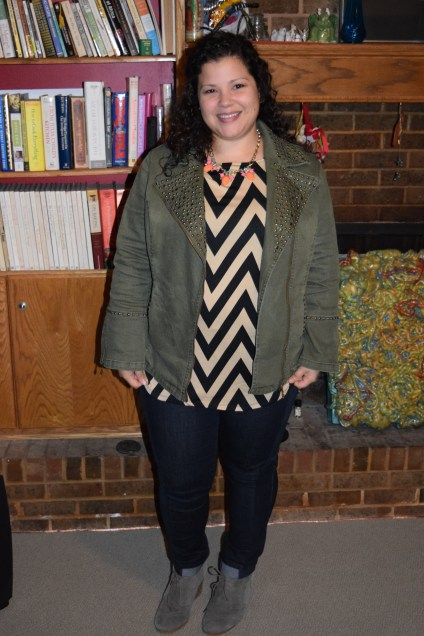 workwear wednesday: chevron top, NYDJ jeggings, olive green jacket