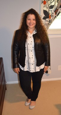 LOFT Dotted plaid utility blouse, NYDJ pants, J crew flats, and Halogen leather jacket