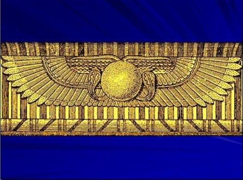 Крылатый солнечный диск, по обеим его сторонам изображение змеи, означающей баланс противоборствующих сил. Композиция символизирует защиту и мировое равновесие. Этот знак часто изображался над входом в гробницу фараона; в этом случае диск в центре символизировал Гора, крылья – оберегающую его Изиду, а змеи – Нижний и Верхний Египет.