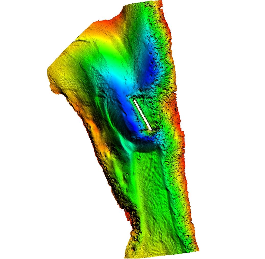 Multibeam survey of bridge scour