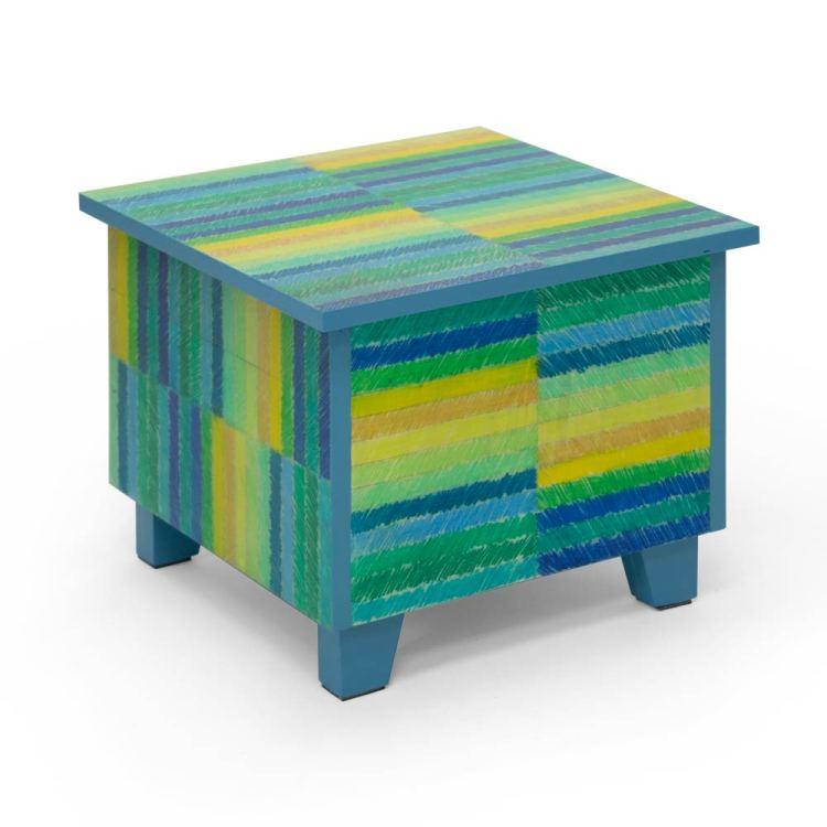 Salontafel met getekende strepen, blauwe versie