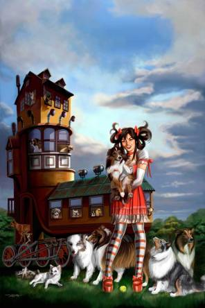 Sandra Chang-Adair's Old Woman in the Shoe with Dogs features a gothic lolita