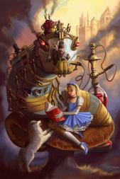 Sandra Chang-Adair's Steampunk Alice features a giant mechanical Caterpillar with the Mad Hatter at the helm