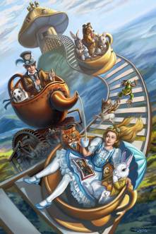 Sandra Chang-Adair's Steampunk Alice in Wonderland on the Madhatter's crazy rollercoaster ride with the White Rabbit, the Door Mouse, the Cheshire Cat and the March Hare.