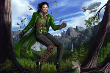 I wanted to paint Michael Jackson as Peter Pan, but a Steampunk version since traditional interpretations of Peter Pan can be quite mundane. So I found the happiest portrait I could find of Michael to use as reference and what better situation to paint him in than his signature dance move. I put him in the forest with mountains in the background to represent his permanent and supreme contribution to the world. I added Tinkerbell for people to properly identify the subject matter. And I resisted putting my likeness in her countenance. I added a ship in the background which would be the infamous vessel that belonged to Captain Hook. In Michael's case, Hook would be his nemesis, Tom Sneddon, the evil district attorney of Santa Maria who tried unsuccessfully to indict Michael. Need I have to mention that Michael was pronounced innocent of all 14 counts in this criminal trial! I'd like to think that in my painting, Tom Sneddon and his cronies have all been dropped off at the pit of Sarlacc where they will be painfully digested for a thousand years! So the ship is now manned by a crew of faithful MJ fans! I used Corel Painter and Adobe Photoshop and love to create my painting. I hope you like my artwork! Artwork by Sandra Chang-Adair (A HUGE MJ FAN!!! I LOVE YOU, MICHAEL!)