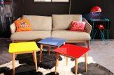 Canapé en cuir designer, coussin fait à partir d'anciens sweats U.S