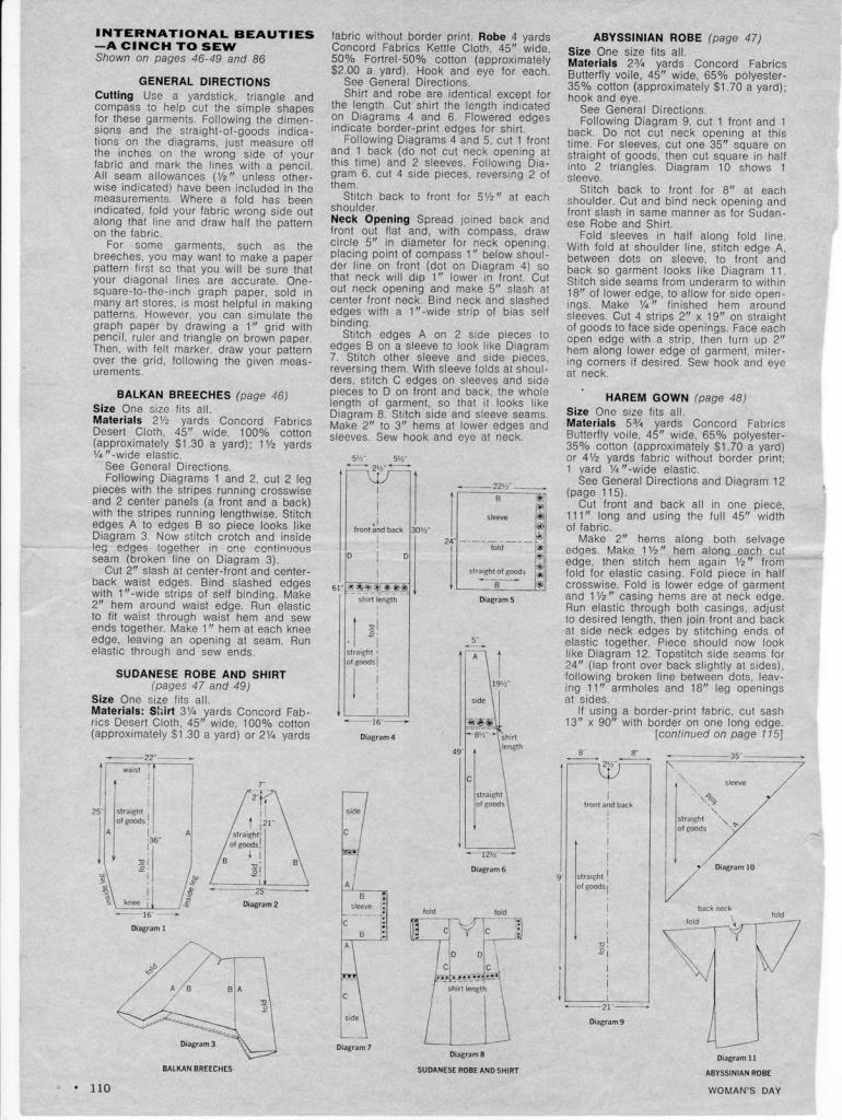 Sewing diagrams