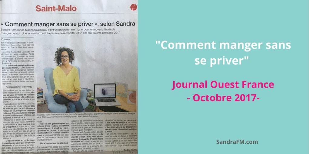 Comment manger sans se priver selon Sandra FM - Journal Ouest France octobre 2017