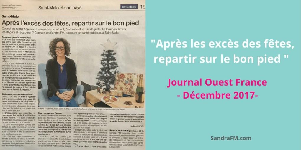 Après les excès des fêtes, repartir sur le bon pied - Sandra FM Ouest France decembre 2017