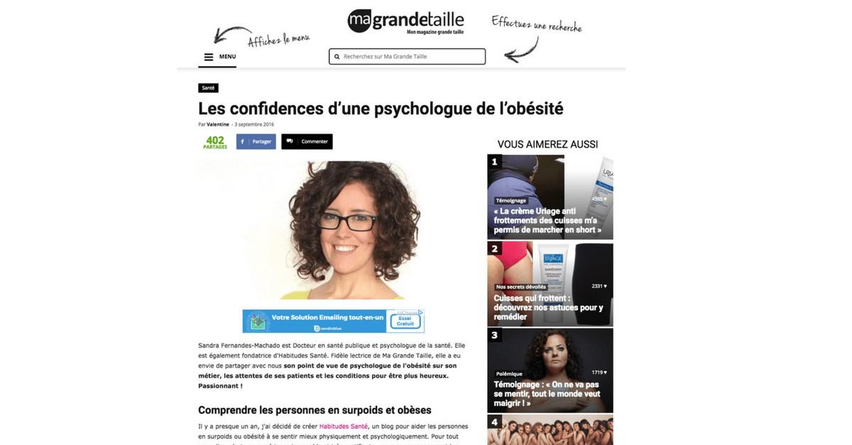 Confidence d'une psychologue de l'obésité - sandra fm, surpoids, TCA