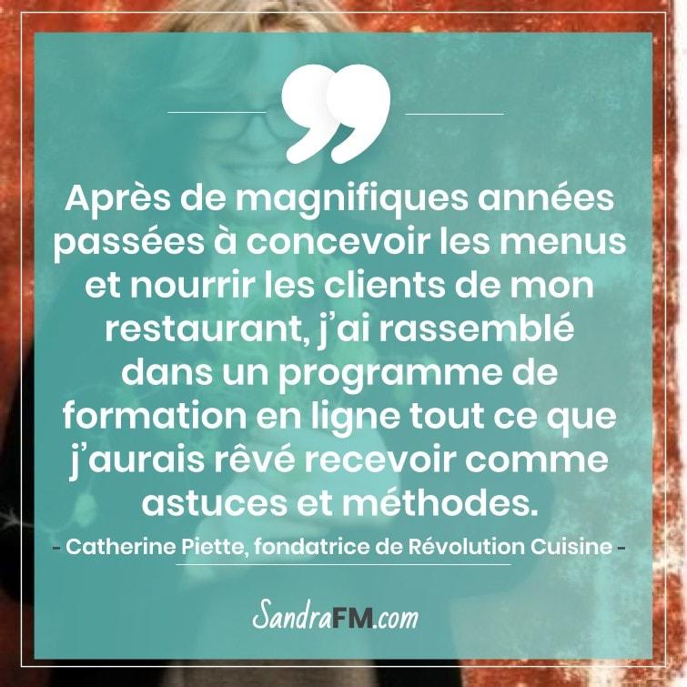 confinement nourriture repas cuisine sandra fm catherine piette revolution cuisine