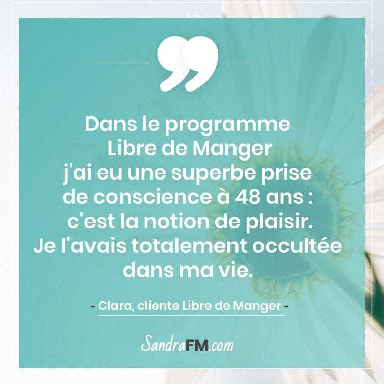 Témoignage Clara Libre de Manger Compulsions Plaisir Sandra FM plaisir