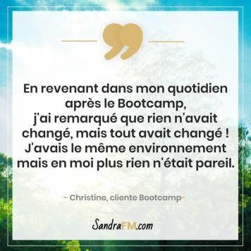 Bootcamp Avant Apres Temoignage Christine Libération Violence Psy Sandra FM changement profond
