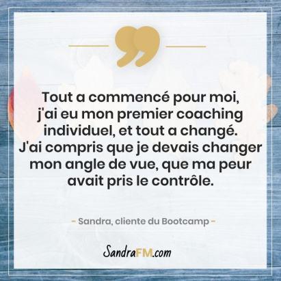 Libre de la fibromyalgie Sandra FM bootcamp changement coaching peur