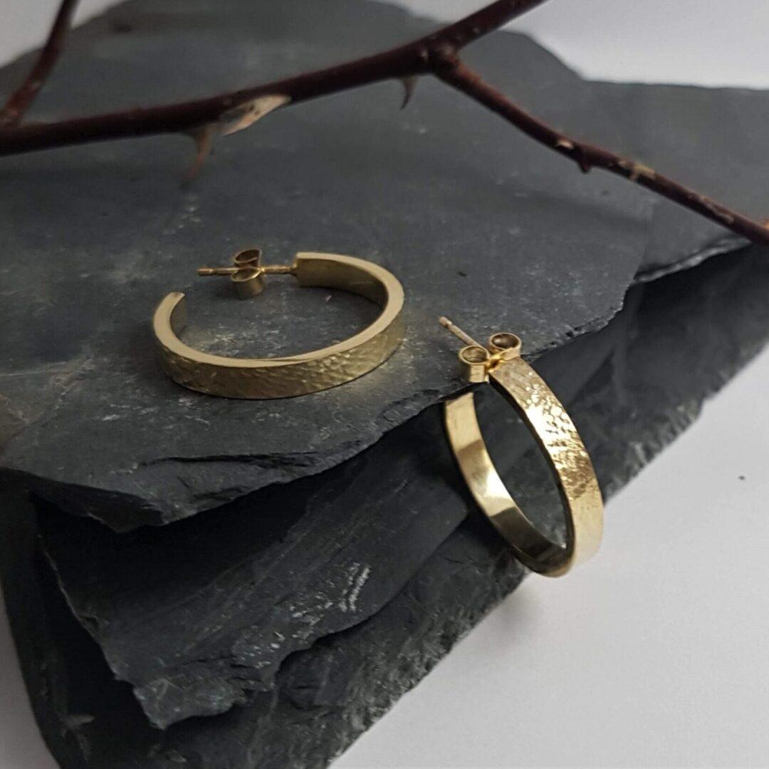 Metal & Lace Gold Hoop Earrings LARGE