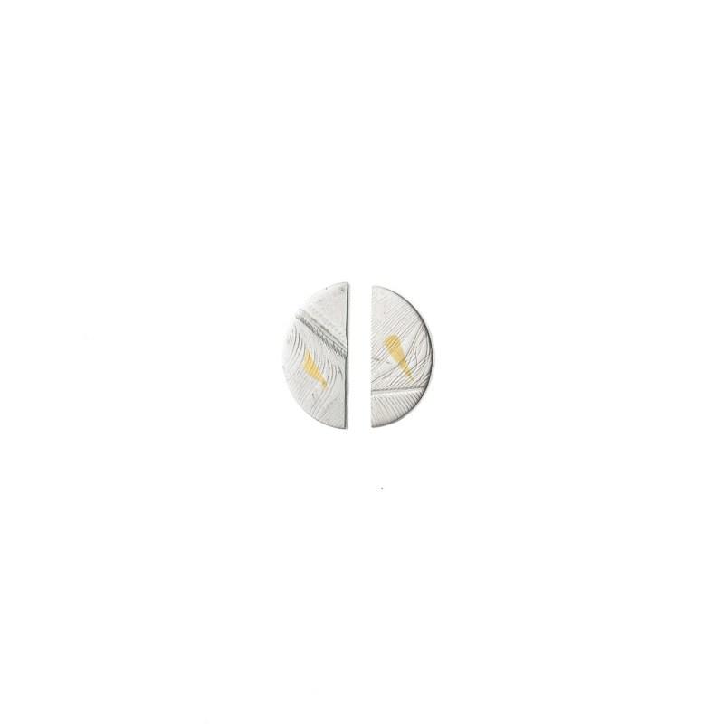 silver semi circle earrings