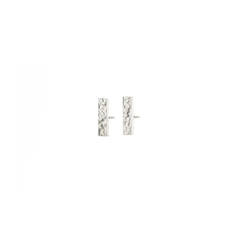 Textured silver bar stud earrings