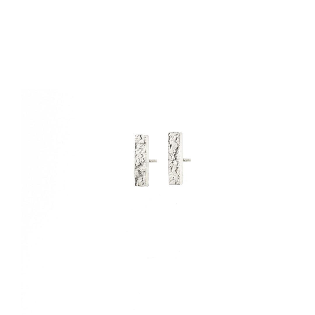 Metal & Lace Silver Stud Earrings