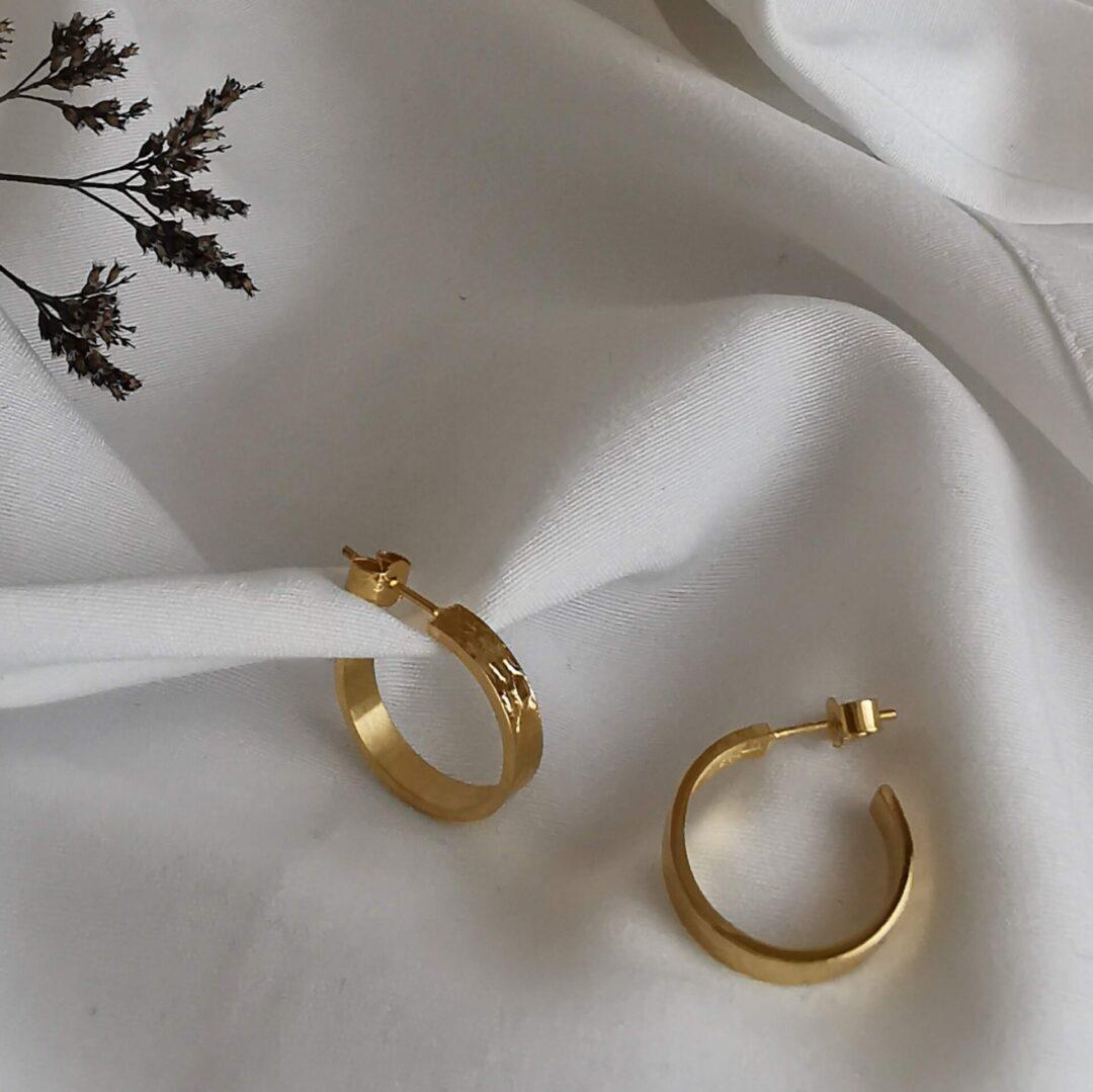 Metal and Lace Gold Hoop Earrings MEDIUM