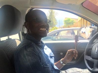 My driver enjoying his brochette