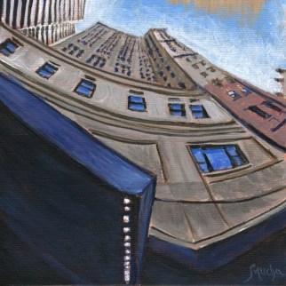 Pegasus' Tower by Sandra Mucha | Acrylic on Canvas | 6″ x 6″ /15.25cm x 15.25cm