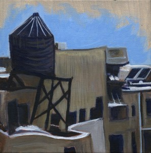 Water Tower on Rooftop by Sandra Mucha | Acrylic on Canvas | 6″x 6″