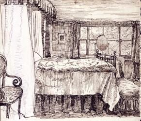 "Beatrix Potter, ""Bedroom interior at Camfield Place, Hatfield"" (© Frederick Warne & Co. 2006)"
