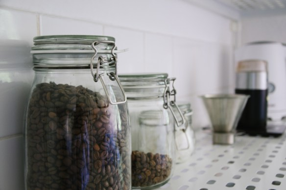 Jars of coffee beans, because sharing coffee together is one of the sacred ways we bond and deepen a relationship