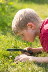 m8, boy looks through magnifying glass in garden, Bavaria, Germany