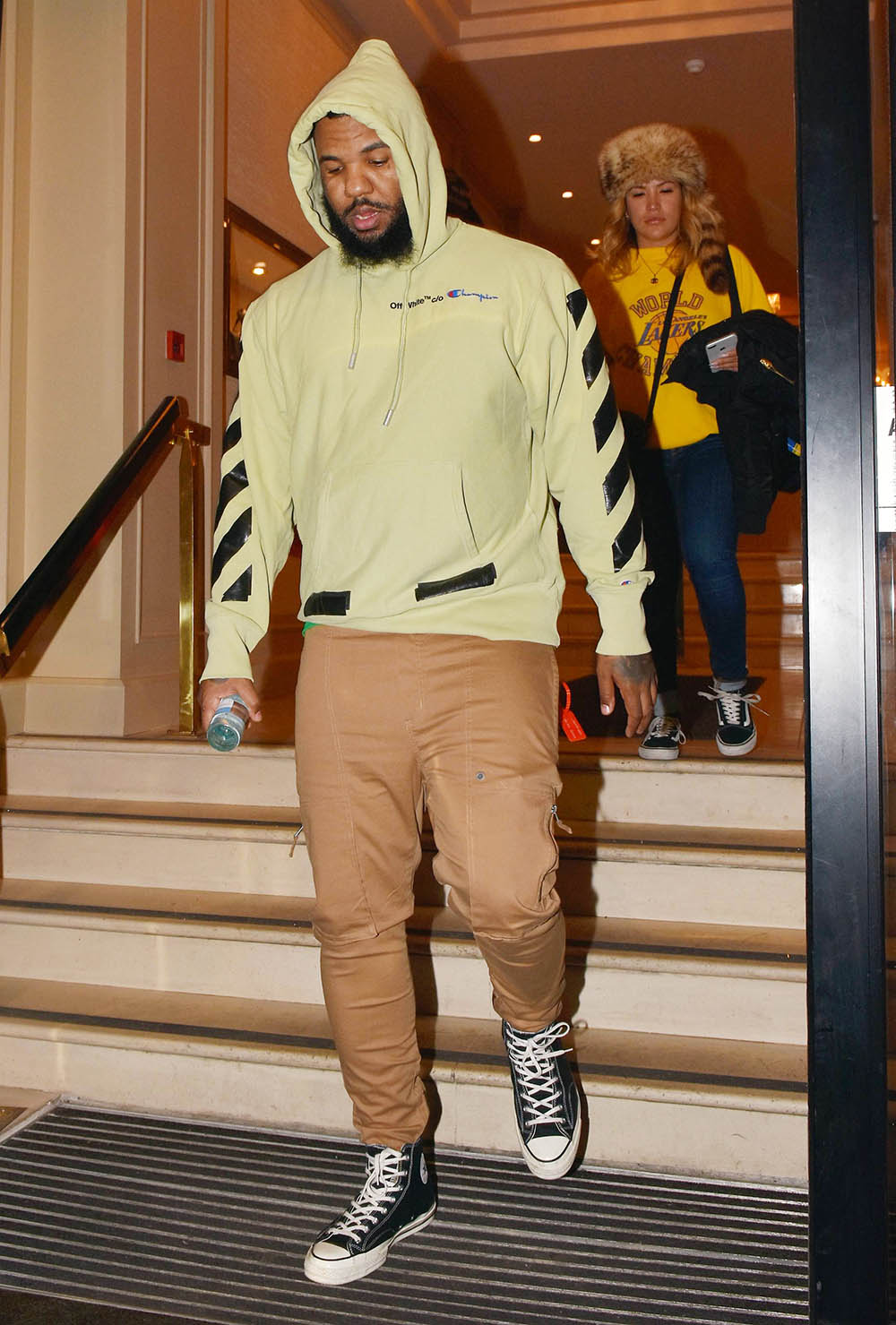 The Game wearing OffWhite x Champion hoodie in Dublin