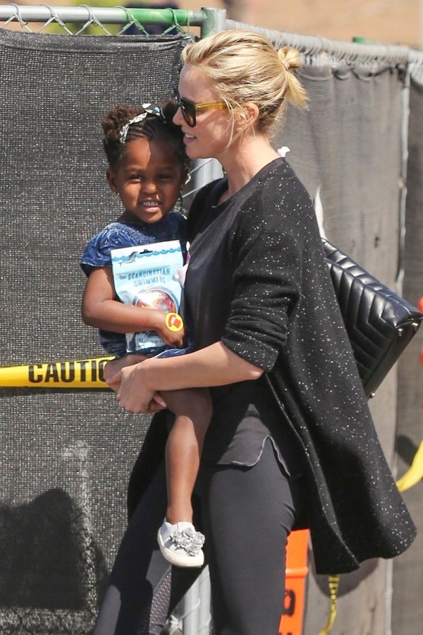 Charlize Theron And Little August Shopping
