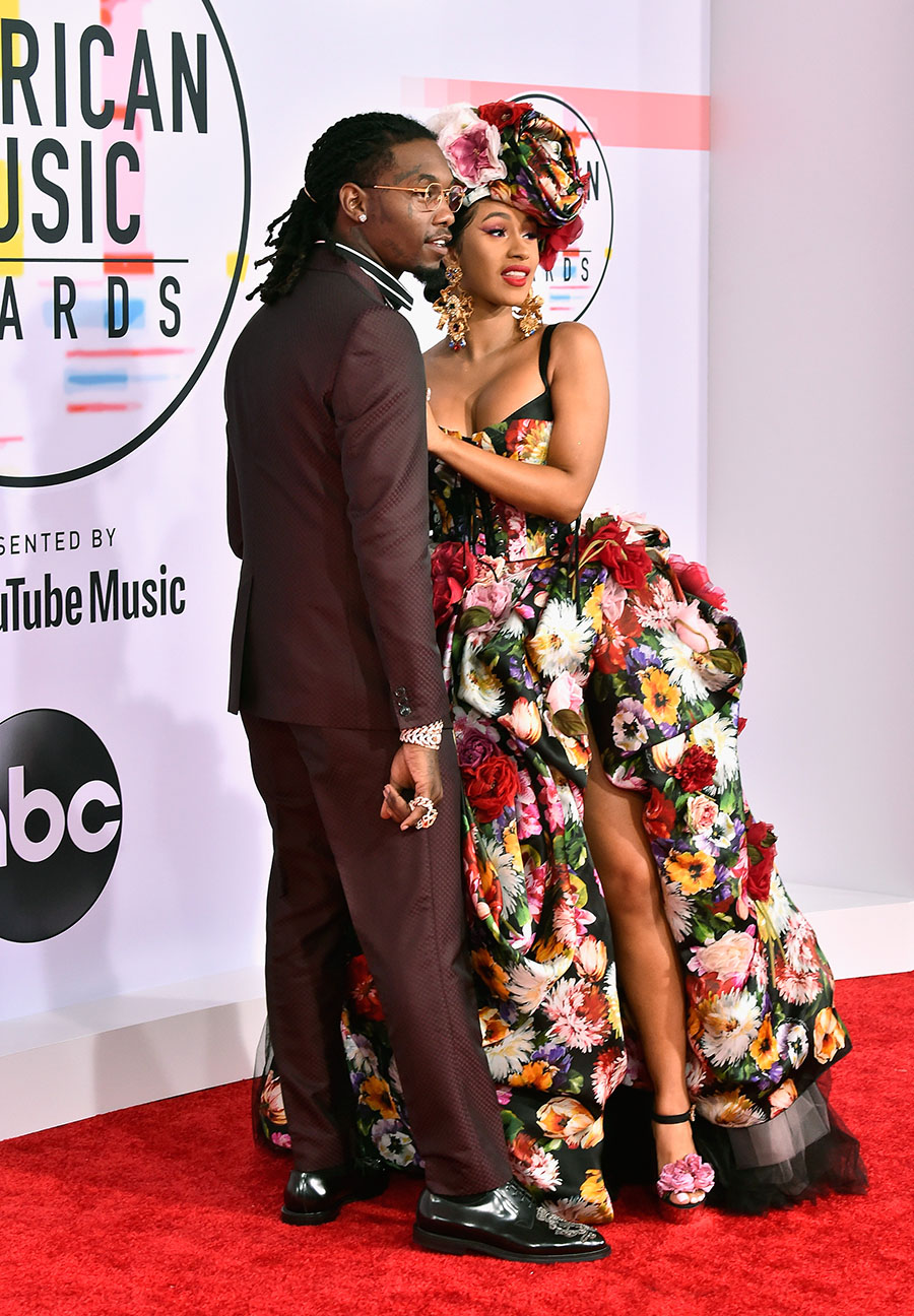 Offset L and Cardi B attend the 2018 American Music