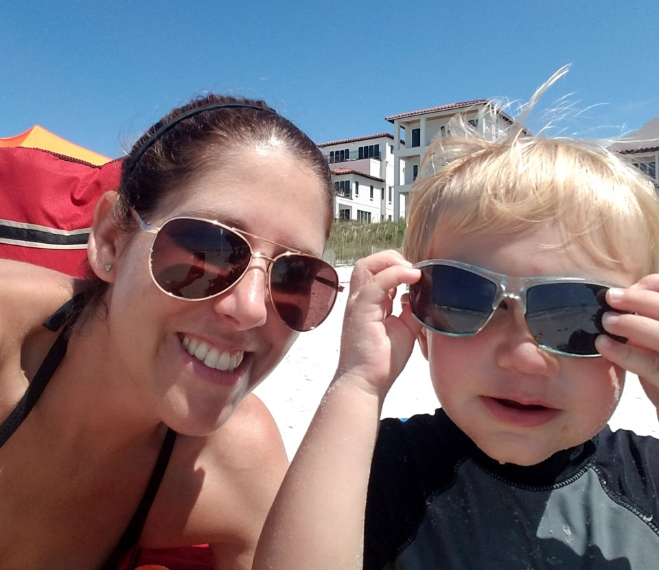 mom and son at the beach