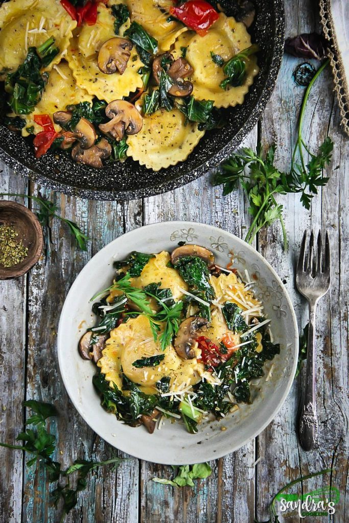 Sautéed Kale and Mushrooms with Ravioli