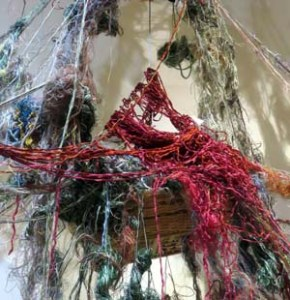 Detail of Susan Lenz, Threads: Gathering My Thoughts (2016).
