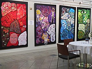 Deborah Weir, partial view of the Chroma series (2012-2015), eight panels, each 80 inches high.