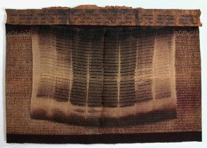Judith James, Folio (2004), 15.5 x 22.5 in.; screen printed, dyed, and discharged cotton, silk and Hindumoni paper; hand stitched and embroidered.