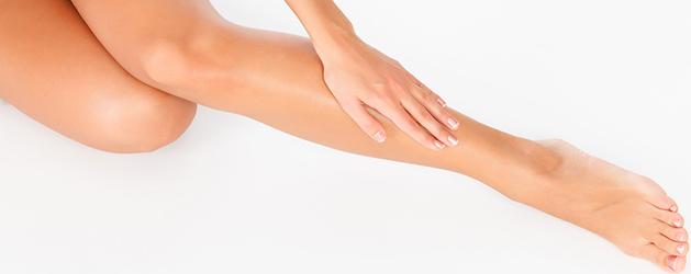 Women's leg after waxing