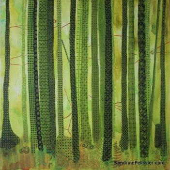 forest painting with patterns by North Vancouver artist Sandrine Pelissier