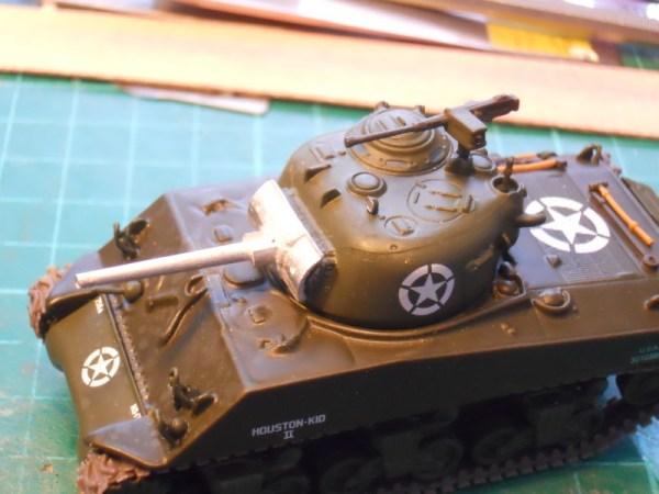 Diecast M4A3 Sherman & 75mm gun barrel conversion