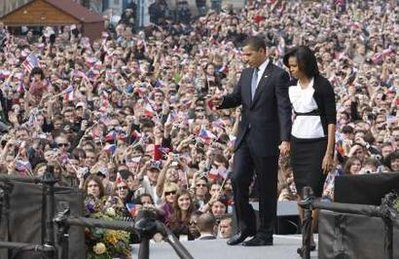 Barack Obama and Michelle Obama leave Hradcany Square. Reuters photo by Jason Reed