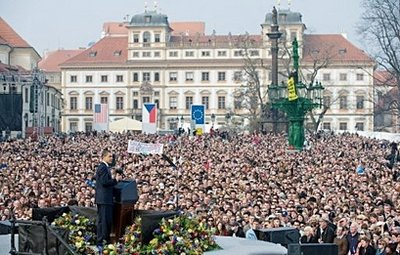 Barack Obama speaks at Hradcany Square near Prague Castle. AFP photo by Saul Loeb