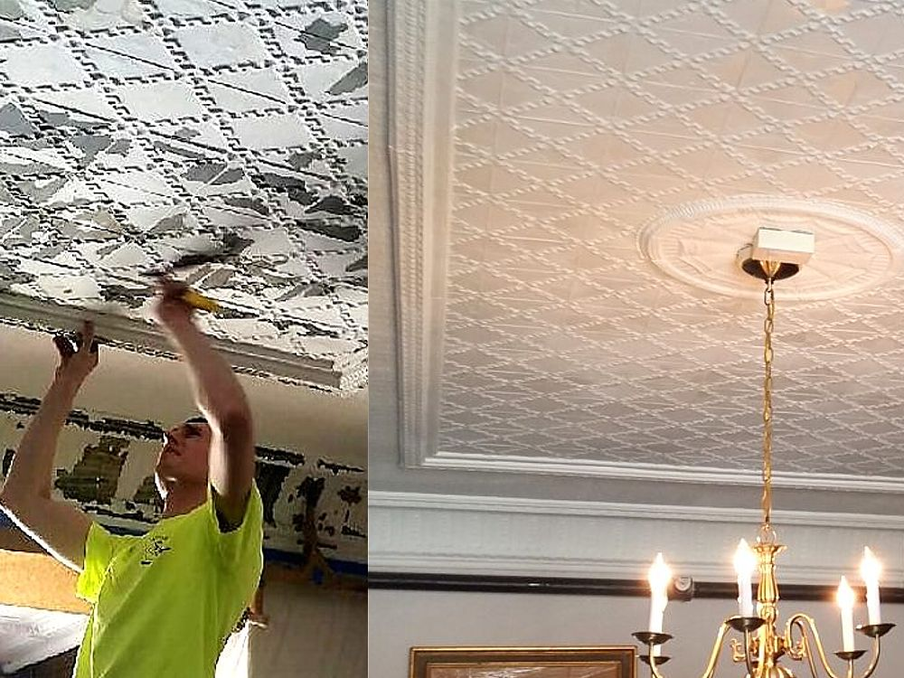 Brattleboro Retreat Ceiling Before and After