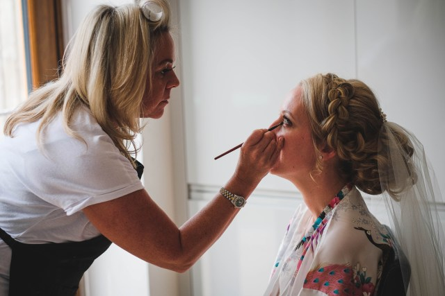 Documentary wedding photography of bride getting ready