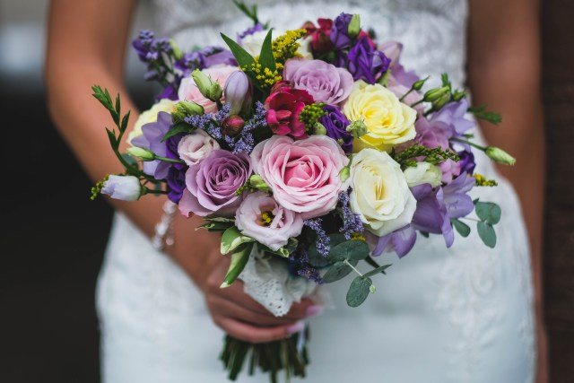 Wedding flowers including roses of many colours
